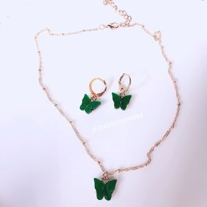 Forest Green Butterfly necklace set